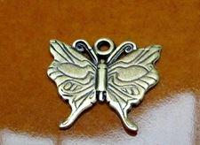 Afbeelding van 22x18 mm, geluk is een vlinder, hangertje-bedeltje, tin, JBB findings, messing afwerking