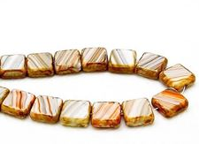 Picture of 10x10 mm, flat square Czech beads, white-orange-grey striped, opaque, travertine