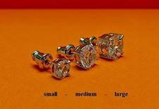 """Afbeelding van Oorknopjes in """"briljant slijpvorm"""", sterling zilver, ronde kubiek zirkonia, medium, 7 mm"""