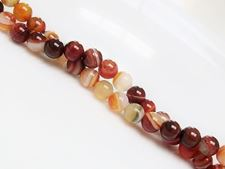 Picture of 6x6 mm, round, gemstone beads, natural striped agate, white and Peru brown