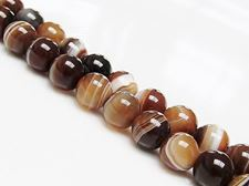 Picture of 8x8 mm, round, gemstone beads, natural striped agate, caramel to deep brown