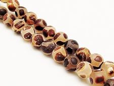 Picture of 8x8 mm, round, gemstone beads, agate, Tibetan style, deep brown on white, frosted