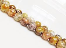 Picture of 8x8 mm, round, gemstone beads, common opal, honey yellow, natural