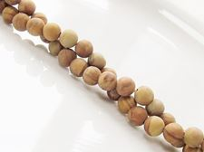 Picture of 6x6 mm, round, gemstone beads, petrified wood, yellow, natural, frosted