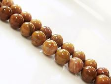 Picture of 8x8 mm, round, gemstone beads, petrified wood, yellow, natural