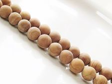 Picture of 8x8 mm, round, gemstone beads, petrified wood, yellow, natural, frosted