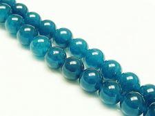 Image de 10x10 mm, perles rondes, pierres gemmes, jade malaisien, bleu canard