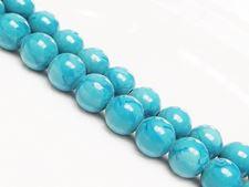 Image de 10x10 mm, perles rondes, pierres gemmes, jade Mashan, bleu cyan