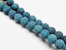 Image de 10x10 mm, perles rondes, pierres gemmes, pierre de lave, teintée bleu-vert foncé