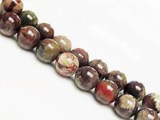 Image de 10x10 mm, perles rondes, pierres gemmes, jaspe forêt humide, rhyolite, naturelle