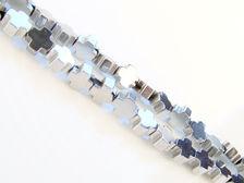 Image de 4x4 mm, perles en croix grecque, pierre gemme, hématite, métallisée de rhodium